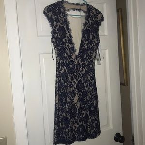 Navy Blue and nude lace backless dress